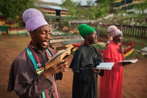 Rastafarians chant psalms from the King James Bible. Kingston, Jamaica 2011. All Photographs: Getty Images