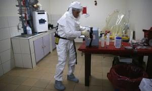 An Ebola vaccine box near Gbarnga, Liberia