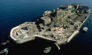 Hashima Island, Japan; an aerial view of Battleship Island
