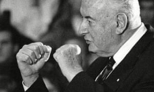 Gough Whitlam, fists raised during a 1992 debate