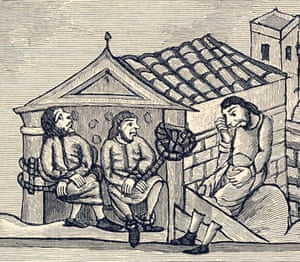 A 12th-century illustration of men in the stocks
