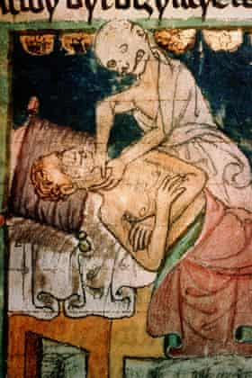 A contemporary illustration of Death strangling a victim of the plague