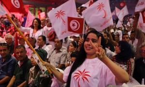 Supporters of Beji Caid Essebsi, head of the Tunisian Nidaa Tounes movement