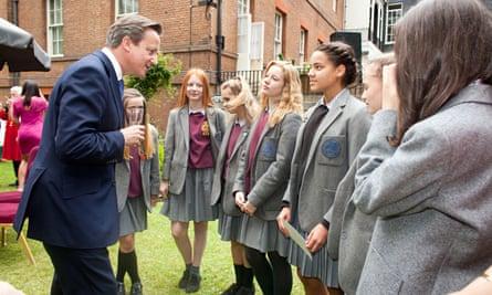 David Cameron meets pupils from Grey Coats Hospital school