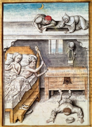 A 16th-century illustration of a homeowner thwarting a burglary