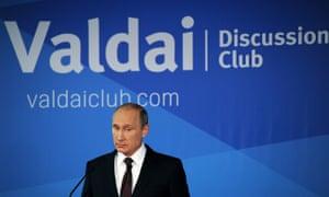 Russian President Vladimir Putin speaks