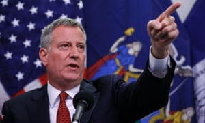 New York mayor Bill de Blasio at a press conference on Friday.