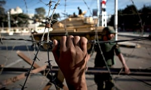 Egyptian tank behind barbed wire