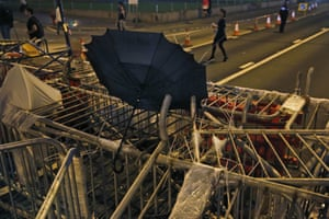 An umbrella is photographed by Kin Cheung on a barricade at the occupied area in Hong Kong. Thousands of protesters continued to block city streets demanding democratic reforms in a political standoff that has now dragged on for nearly a month
