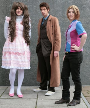 Rik Booker, Roxas Strife and TJ Bailey dressed as Gothic Lolita, Doctor Who and Rose Tyler respectively at Comic-Con in London.