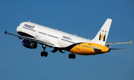 Monarch Airlines Airbus A321-200 (G-OZBU) takes off at Manchester Airport, England.
