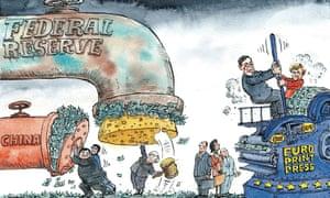 US winds down quantitative easing programme. Cartoon by David Simonds