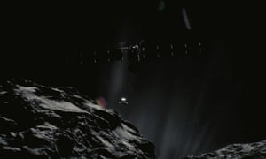 A computer generated image of the Rosetta spacecraft circling a comet.