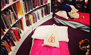 The sleepover at Waterstones's Piccadilly store in London.