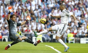 There's almost an immediate response from Real as Benzema sprints onto Isco's pass and flicks the ball past the outrushing Bravo. However, the keeper's done just enough, as Benzema's flick bounces apologetically wide of the right-hand post
