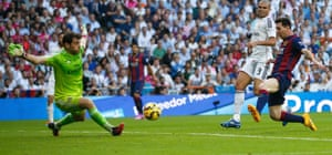 Midway through the first half Suarez makes a little space for himself down the right again, then fires a low cross into the box. It's a brilliant ball, and it's met by Messi, who surely must score, but his sidefoot allows Casillas to get in the way and tip the ball out for a corner