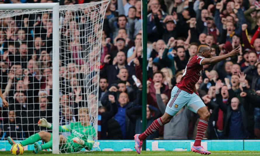 Diafra Sakho wheels away in celebration after scoring West Ham's second goal against Manchester City in the Premier League at Upton Park.