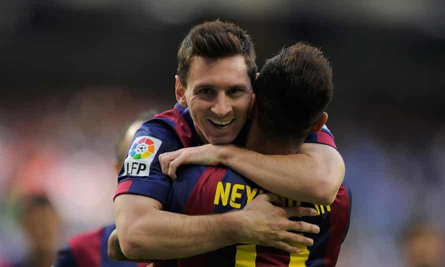 Lionel Messi and Neymar celebrate Barcelona taking the lead.