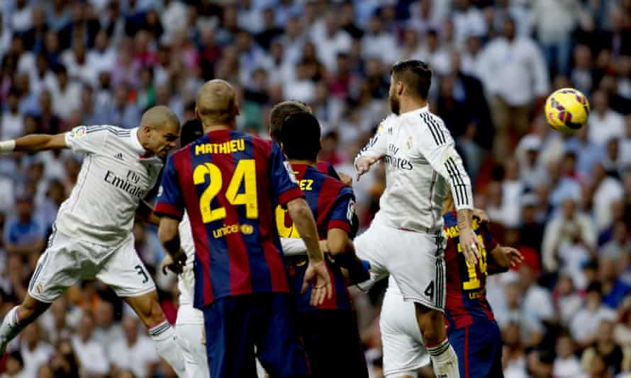 Pepe. left, powers his header into the back of the net.