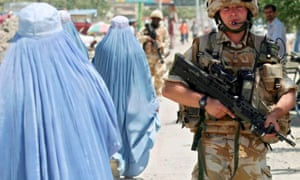 British soldiers patrolling in Kabul, Afghanistan. End of combat operations in Helmand paves the way for the final transfer of security to the Afghan National Security Forces (ANSF).