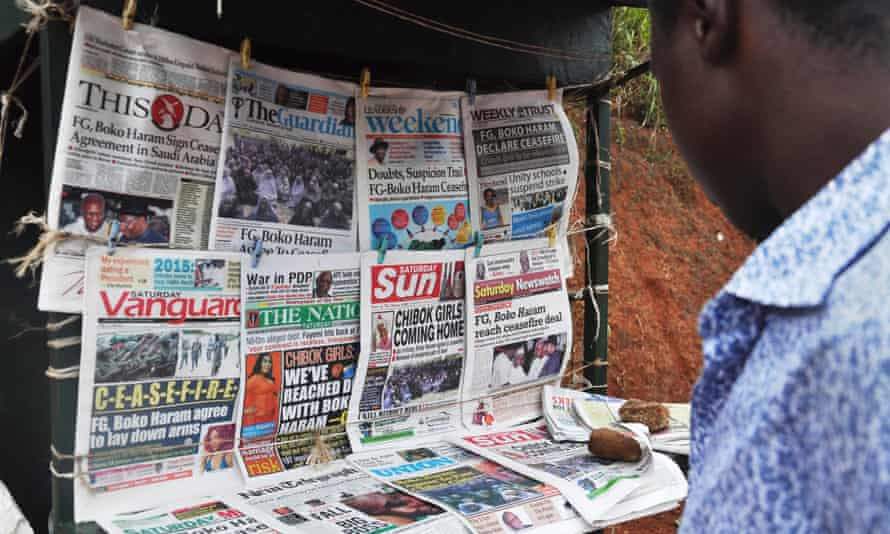 Newspapers with various front page headlines on the Chibok girls and their possible release after news of a ceasefire with Boko Haram.