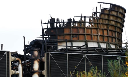 A burnt cooling tower at Didcot B power station