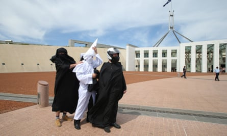 Anti-burqa protesters Nick Folkes, Sergio Redegalli and Victor Waterson outside Parliament House on Monday.