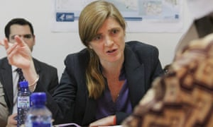 Samantha Power meets officials at the Guinea Ebola Co-ordination Centre in Conakry.