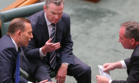 Tony Abbott, Christopher Pyne and Barnaby Joyce at question time on Monday
