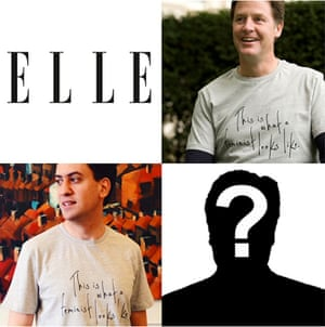 Nick Clegg and Ed Miliband wear This is What A Feminist Looks Like T-shirts, while Elle left a vacant space for David Cameron on its website.