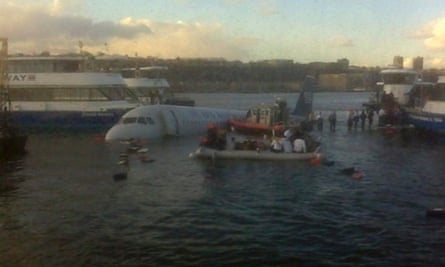 A mobile phone picture taken by a Reuters employee of the crashed US Airways Flight 1549.