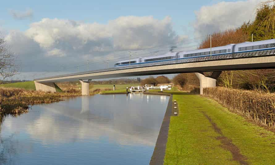 An artist's impression of an HS2 train on the Birmingham and Fazeley viaduct, part of the proposed r