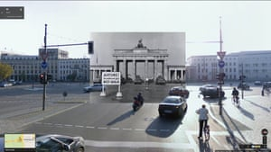 Military water trucks, with high-pressure hoses mounted in their turrets, are lined up in lead position along the Brandenburg Gate border, 08/1961