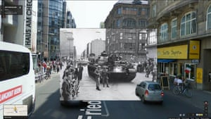 American troops and tanks in the afternoon of August 23, 1961 occupy the border sector at Friedrichstrasse, 08/23/1961