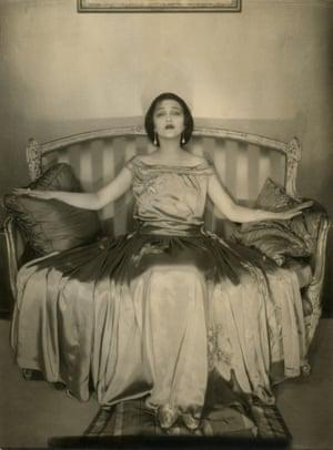 Edward Steichen; Actress Jetta Goudal wearing a satin gown