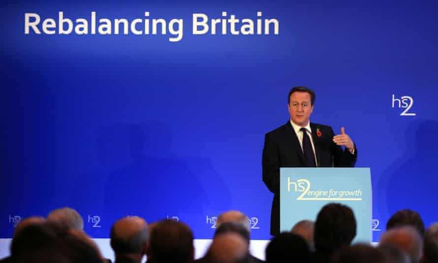 David Cameron at the launch of Sir David Higgins' report on HS2 at Leeds Civic Hall. P