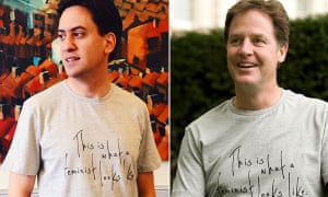 Allies ... Ed Miliband and Nick Clegg wear the Fawcett Society's feminist T-shirt.