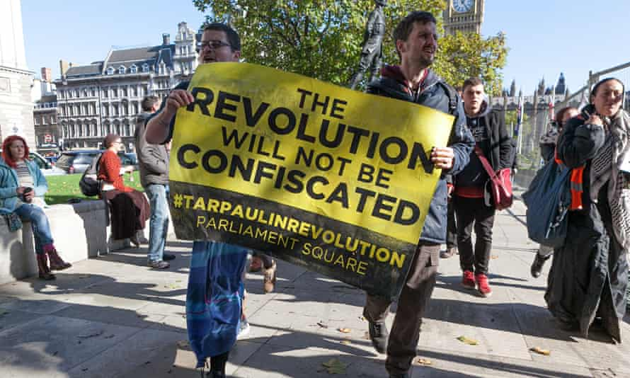 Proetesters in Parliament Square during the Occupy Democracy campaign. Photograph: Steve Parkins/Dem