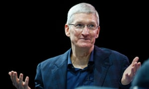 Apple CEO Tim Cook speaking at the WSJD Live conference.