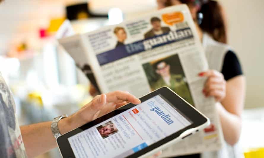 Guardian being read on an iPad