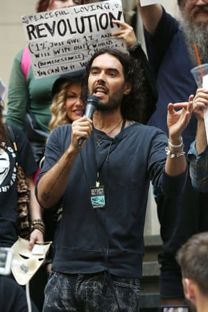 Russell Brand spreading his revolutionary message in New York