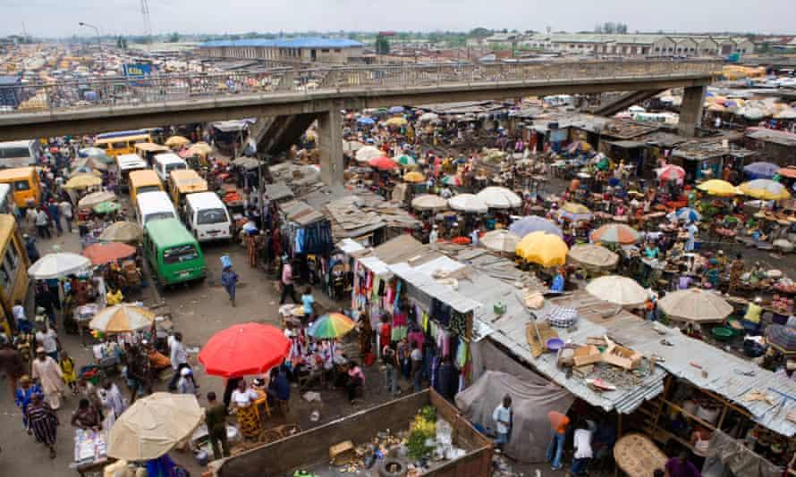 Crowds at Oshidin market in Lagos, Nigeria.