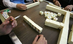 A  Mahjong parlour in Hong Kong.