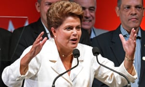 Dilma Rousseff delivers a speech after being re-elected president of Brazil