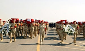 The coffins of 31 Egyptian soldiers killed in the Sinai peninsula o