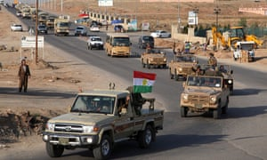 A convoy of Kurdish peshmerga fighters