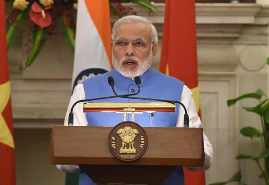 Narendra Modi delivers his address in New Delhi