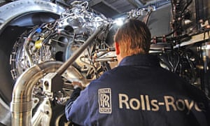 Rolls-Royce employee with engine