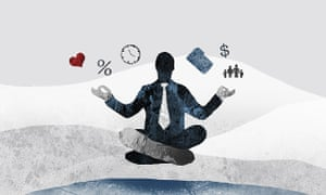 Silhouette of businessman in lotus position surrounded by work, love and finance worries