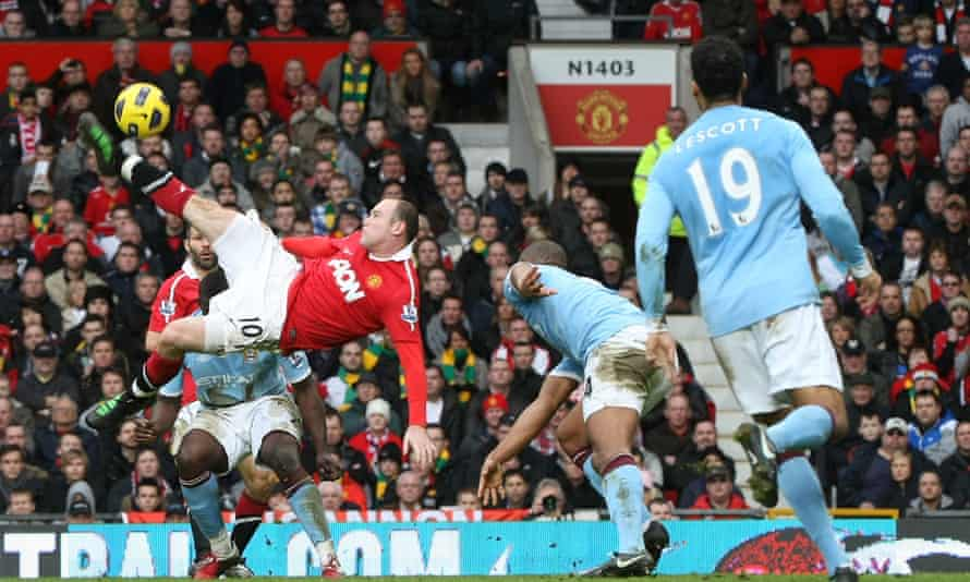 Wayne Rooney scores a brilliant overhead kick for Manchester United against City in 2011.